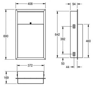 Franke Abfallbehälter RODX605E 23L aus Chromnickelstahl zur Unterputzmontage - Vorschau 3