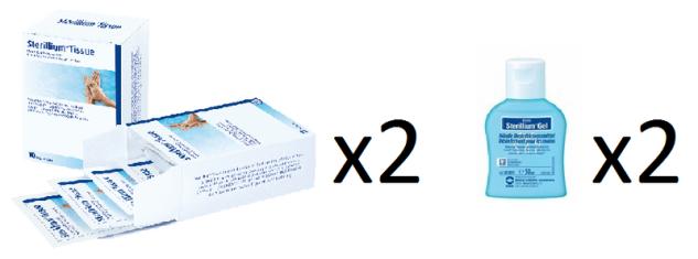 2x 50ml Sterillium Gel Händedesinfektion + 2x Tissues Desinfektionstücher zusammen im Set