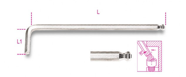 Beta Sechskant-Stiftschlüssel, gebogen, mit kugelförmigem Kopf, extra lange Ausführung 96LBP