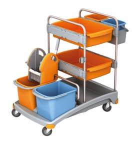 Splast Reinigungswagen mit 4 Eimern, Moppresse, Plastikbasis und 2 Ablagekörben