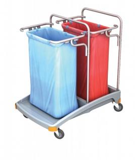 Splast Doppel-Müllentsorgungswagen aus Kunststoff 2 x 120l - Deckel ist optional