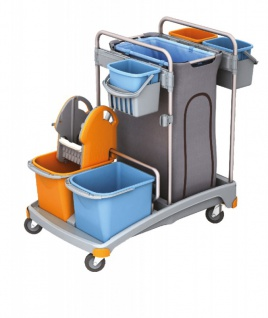 Splast Putzwagenset aus Plastik inkl. Beutelhalter 120 l, 5 Eimern und Moppresse