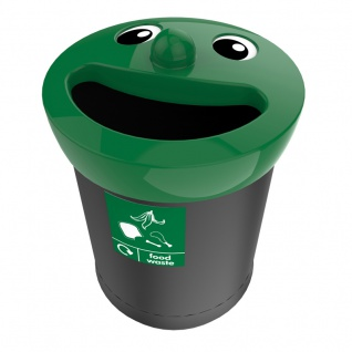 Smiley Face Bin 52 Liter, food waste Schwarz, Grün