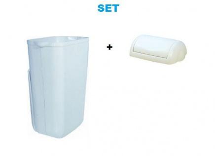 Set Marplast Mülleimer 23 Liter in Weiß MP742 mit Klappdeckel - Vorschau 1