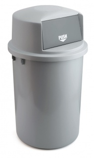 Abfallbehällter aus Kunststoff mit Klappdeckel 126 Liter Grau