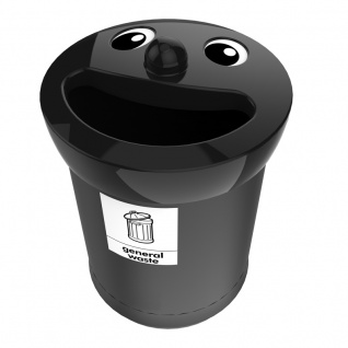 Smiley Face Bin 52 Liter, general waste Schwarz, Schwarz