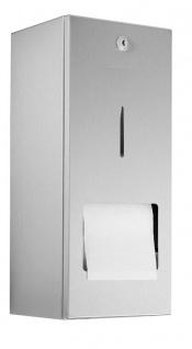 Wagner-EWAR Toilettenpapierhalter mit verdeckter Reserverolle WP164 Edelstahl für Aufputzmontage