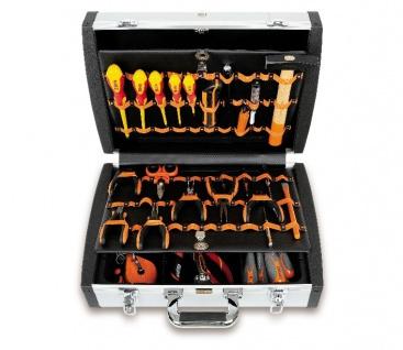 Beta Werkzeugsortimente für Elektroniker und Elektrotechniker, im Aluminium Werkzeugkoffer 98-teilig