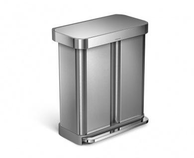 Treteimer Rectangular mit Beutelspender 24+34 Liter, Simplehuman Edelstahl Fpp