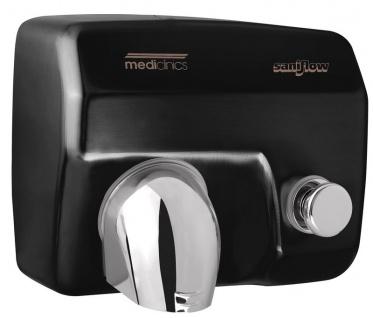 Mediclinics schwarzer Händetrockner mit Drucktaste aus Stahl Wandmontage 2250 Watt