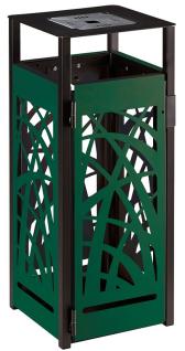 Cybel gelochter Abfallbehälter 110L mit Ascher zum Aufstellen oder zum Befestigen Rossignol