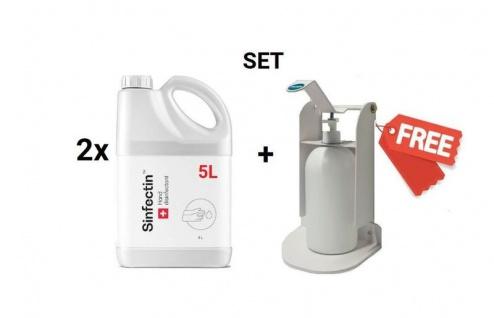 SET 2x 5L Desinfektionsmittel WHO-Rezept + Gratis Desinfektionmittelspender Wandmontage