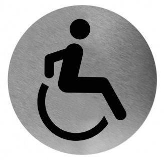 Mediclinics Piktogramm Abbildung Invalide rund Edelstahl zur Wandmontage