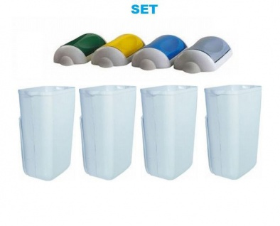 SET Abfalltrennung ''Swing'' 4x Marplast MP742 Mülleimer 23L Weiß + 4x Deckel - Vorschau
