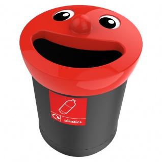 Smiley Face Bin 52 Liter, plastics Schwarz, Rot