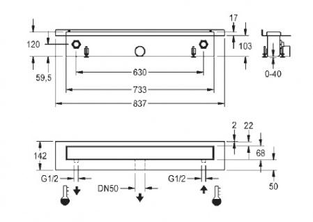 Franke Joulia-Inline JOBF5W Duschrinne mit Wärmetauscher zur wandseitigen Montage - Vorschau 2