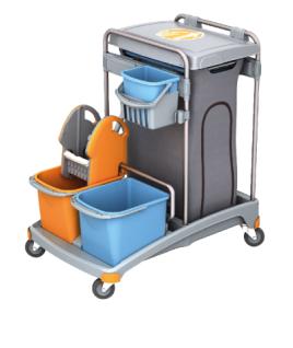 Splast Putzwagen mit Müllsackhalter inkl. Deckel, mit 3 Plastikeimern und Moppresse