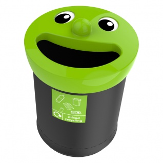 Smiley Face Bin 52 Liter, mixed recycling Grün