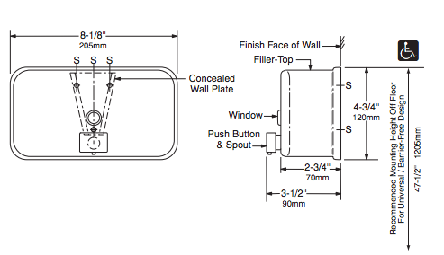 BOBRICK B-2112 Seifenspender horizontal 1, 2 Liter Edelstahl matt geschliffen - Vorschau 2
