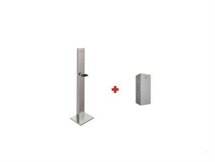 SET Franke Säule + berührungslose Spender RODAN RODX627H mit Sensor für Desinfektionmittel aus Chromnickelstahl