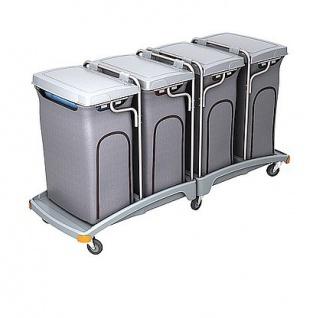 Splast Vierfachabfallwagen aus Plastik 4x 120l mit Seitenabdeckung, Deckel optional
