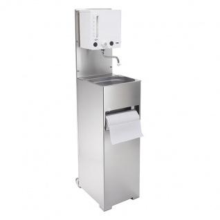Mobiles Handwaschbecken mit Warmwassergerät und Abwassertank aus Edelstahl