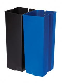 Recycling Inneneimer 2X45 Liter Front Step Edelstahl, Rubbermaid Schwarz, Blau