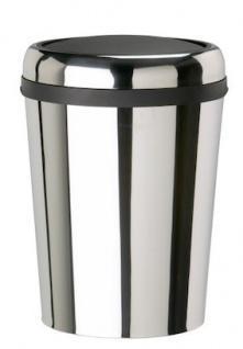 Rossignol Swingy ovaler Abfallbehälter aus Edelstahl mit Schwingdeckel 59 Liter