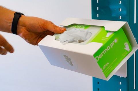 Hygiene- und Desinfektions-Station inkl. Desinfektionspender und inkl. Halterung für Papierhandtuchrolle und Handschuhe, Abfallbox 13lt. - Vorschau 3
