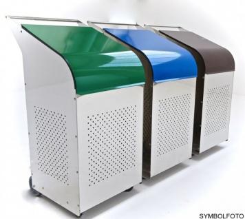 G-Line Pro Abfalleimer Ecobin aus poliertem Edelstahl 1.4301 Aluminiumdeckel Blau