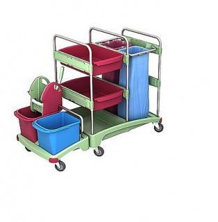Splast Antibakterieller Reinigungswagen mit Moppresse, 2x 70l Beutelhalter, Regal