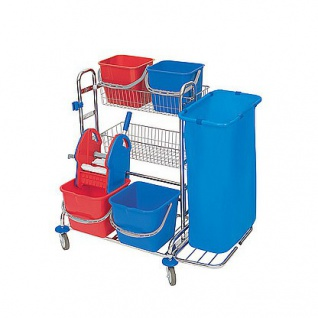 Splast Reinigungsset verchromt: 4 Eimer, Moppresse, 2 Körbe, 1 oder 2 Beutelhalter