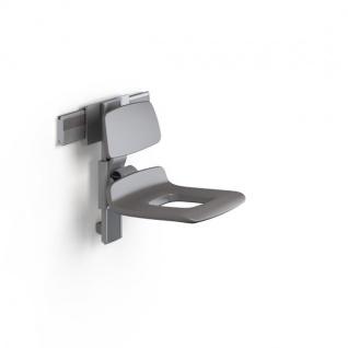 Pressalit manuell regelbarer Duschsitz mit Pflegeöffnung und Rückenlehne