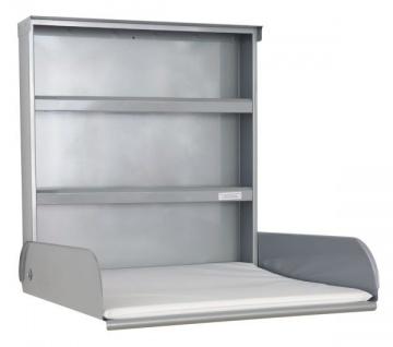 Stahlwickeltisch Klappbar mit Regalsystem und Wickelauflage - Pippi byBo Design Silber