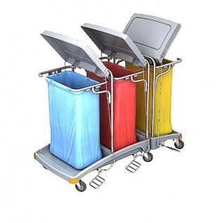 Splast Abfallwagen mit 3x 120l Beutelhaltern und Deckel - Seitenabdeckung optional