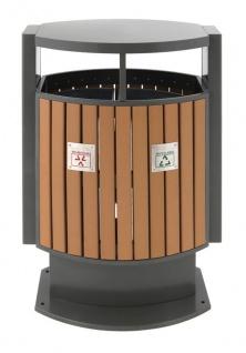 Abfallbehälter für Abfalltrennung draußen Holz Optik