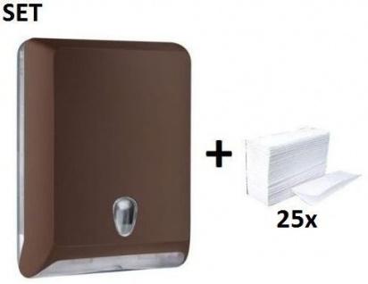 SET Marplast Papierhandtuchspender MP830 Braun Colored Edition + Papierhandtücher