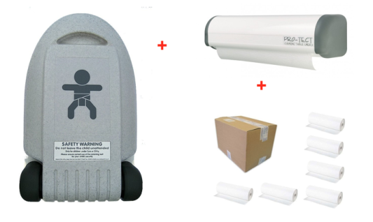 SET Wickeltisch Vertikal Kompakt + Papierrollenhalter Economic + Karton mit 6 Papierrollen
