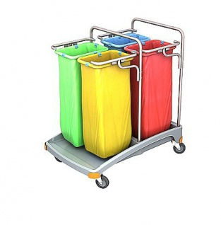 Splast Abfallentsorgungswagen aus Plastik mit Beutelhaltern 4x 70l - Deckel optional