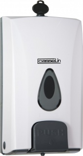 Casselin abschließbarer weißer Seifenspender 1000 ml - für Flüssigseife - aus ABS