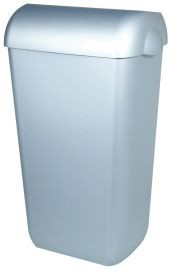 PlastiQline Abfallbehälter in Edelstahl-Look 23L zur Wandmontage oder Freistehend