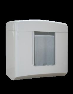 Metzger weißer abschließbarer Falthandtuchspender aus ABS Kunststoff für 500 Blatt