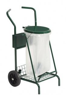 Rossignol mobiler Müllsammler 110L aus pulverbeschichtetem Stahl mit Gummiräder