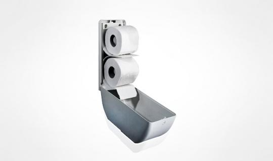 Weißer Doppel Toilettenpapierspender aus Kunststoff zur Wandmontage MP670 - Vorschau 2