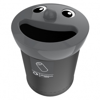 Smiley Face Bin 52 Liter, aluminium cans Schwarz, Grau