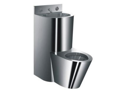 Simex Waschbecken- und WC-Set aus Edelstahl inklusive Wasserablaufhahn und Timer