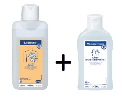 Set Manusept® basic Händedesinfektionsmittel 100ml + Stellisept® med 500 ml Desinfektionsseife