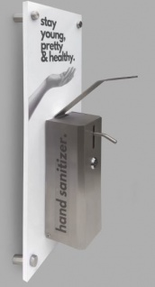 Desinfektionsmittelspender für alle 0, 5L Euroflaschen mit Edelstahlgehäuse an einer bedruckten PVC-Platte oder an ESG-Glas