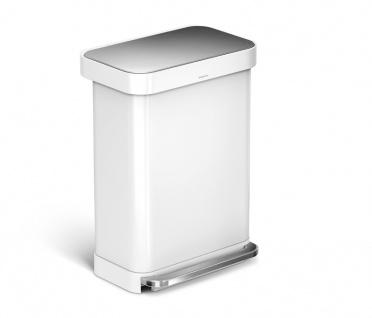 Treteimer Rectangular mit Beutelspender 55 Liter, Simplehuman Weiß Edelstahl