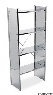 Graepel High Tech Ständer mit Kreuz aus silber lackiertem Stahl für das H2 Regalsystem